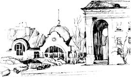 Black and white sketch of the city landscape Stock Photos