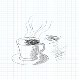 Black and white sketch of coffee cup Stock Photo