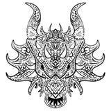 Black and white sketch dragon head Zen-tangle Stock Image