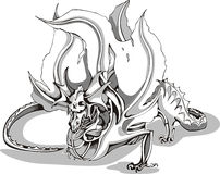 Black and white sketch of a dragon Stock Image