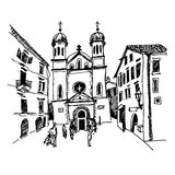 Black and white sketch drawing of Church of Saint Tryphon in Kot Stock Photo