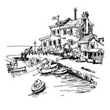 Black and white sketch drawing of historical fort Petrovac. Montenegro, travel vector illustration Stock Photos