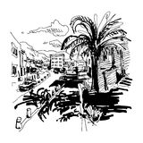 Black and white sketch drawing of Petrovac Montenegro street wit vector illustration