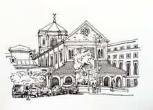 Black and white sketch drawing of Rome cityscape Royalty Free Stock Photos