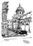 Black and white sketch drawing of Rome cityscape, Italy Stock Image
