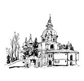 Black and white sketch drawing of Vydubychi monastery in Kyiv Uk Royalty Free Stock Images