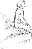 Black and white sketch of a girl sitting on a park bench Royalty Free Stock Photography