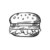 Black and white sketch of a hamburger Stock Image