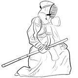 Black and white sketch kendo samurai Royalty Free Stock Photos