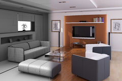 Luxury minimalist living room interior Stock Image