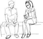 Black and white sketch of man and woman on a bench Stock Photos