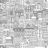 Black and white sketch seamless panorama of the city. Stock Images