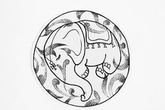 Black and white sketch of sleeping baby elephant in circle. Royalty Free Stock Photography