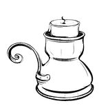 Black and white sketch of stylized retro candlestick with a cand Royalty Free Stock Photo