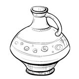 Black and white sketch of stylized retro eastern pitcher Royalty Free Stock Image