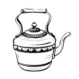 Black and white sketch of stylized retro metal teapot Stock Photography