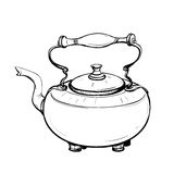 Black and white sketch of stylized retro metal teapot Stock Images