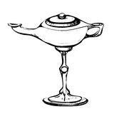 Black and white sketch of stylized retro oriental teapot Royalty Free Stock Images