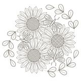 Black and white sketch of sunflowers, stylized flowers and butterflies for anti stress coloring page Stock Images