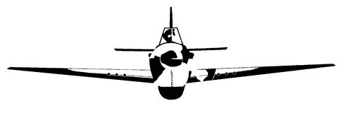 Old Style Fighter Plane Isolated. A black and white sketch of a World War Two fighter plane Stock Photo