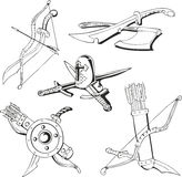 Black and white sketches of blades and old weapon Royalty Free Stock Images