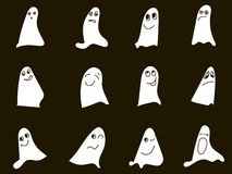 Black and white sketches of hand drawn emotional ghosts Royalty Free Stock Photography