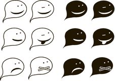 Black-and-white sketches of icons for dialog boxes, question Stock Photo