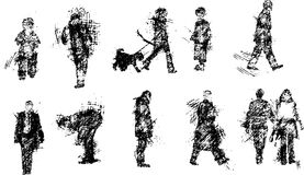 Sketches of people. Black and white  sketches of people Royalty Free Stock Images