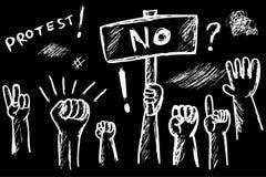 Black and White Sketchy Illustration for Demonstration or Protest Stock Image