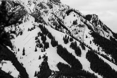 Black and white ski area Stock Photo