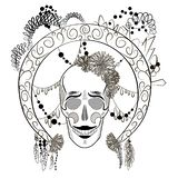Black and white skull with decorated round frame. vector illustration