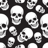 Black and white skull seamless pattern Royalty Free Stock Photos