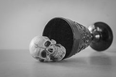 Black and white with skull and wine glass Stock Photo