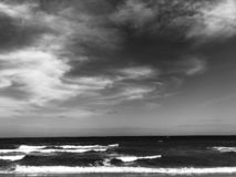 Black and White Sky and Sea Landscape stock images