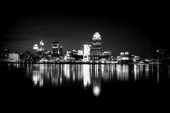Black and white skyline in Cincinnati Royalty Free Stock Photography