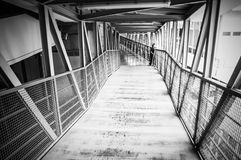 Black and white skywalk in hospital Royalty Free Stock Images