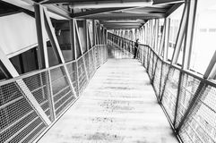 Black and white skywalk in hospital Royalty Free Stock Photography