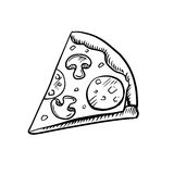 Black and white slice of pepperoni pizza Stock Images