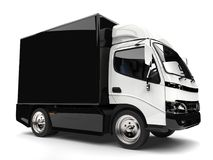 Black and white small box truck. Isolated on white background Stock Photo