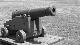 Black and white small cannon Royalty Free Stock Photo
