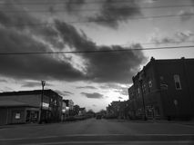 Small town main street. Black and white Stock Image