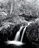 Black and white small waterfall Stock Photography