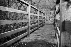 A black and white of a small wooden foot bridge with wooden side barriers stock photo