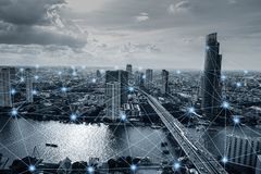 Black and white smart city with network connections. Communication technology concept stock image