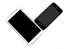 Black and white smart phones Stock Images