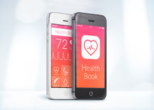 Black and white smartphones with health care book app on the scr Royalty Free Stock Image