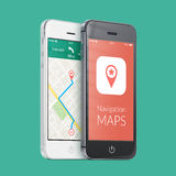 Black and white smartphones with map gps navigation app on the s. Black and white smartphones with map gps navigation application with planned route on the royalty free stock photo