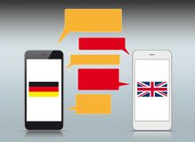 Black White Smartphones Speech Bubbles German English. Black and white smartphones with UK and Germany flags and colorful speech bubbles Stock Images