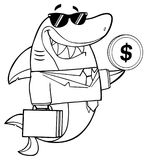 Black And White Smiling Business Shark Cartoon Mascot Character In Suit