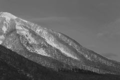 Black and White - Snow covered mountain in Otaru, Sapporo in Japan Stock Photography